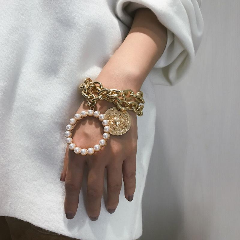 Crab Coin Oversized Chain Multilayered Bracelet