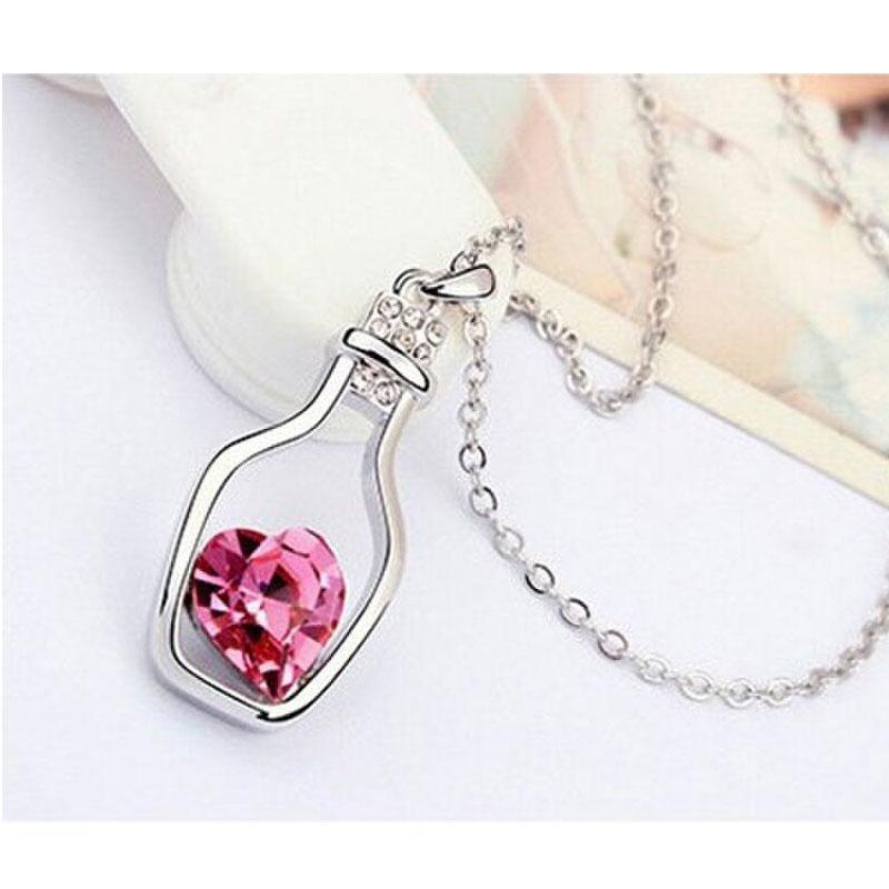 Crystal in Wishing Bottle Chain Necklace