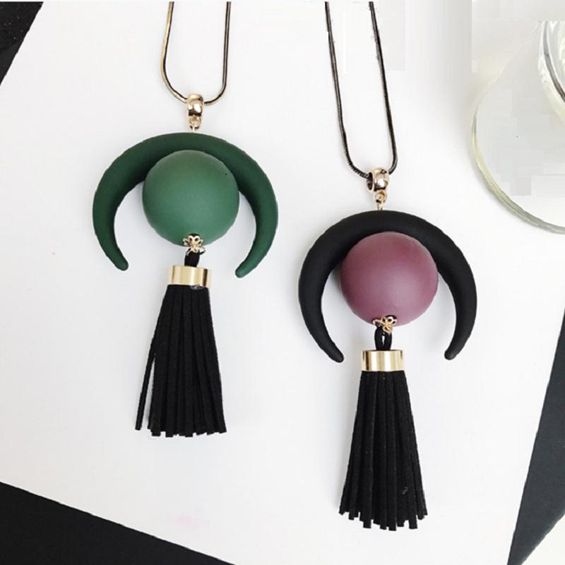 Crescent Moon and Tassel Long Chain Necklace