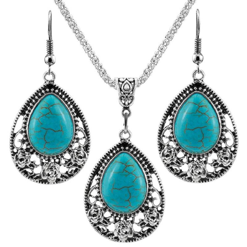 Vintage Turquoise Silver Earrings and Necklace Set