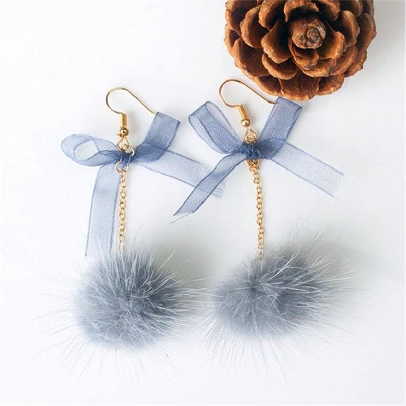 Fur Ball and Simple Bow Drop Earrings