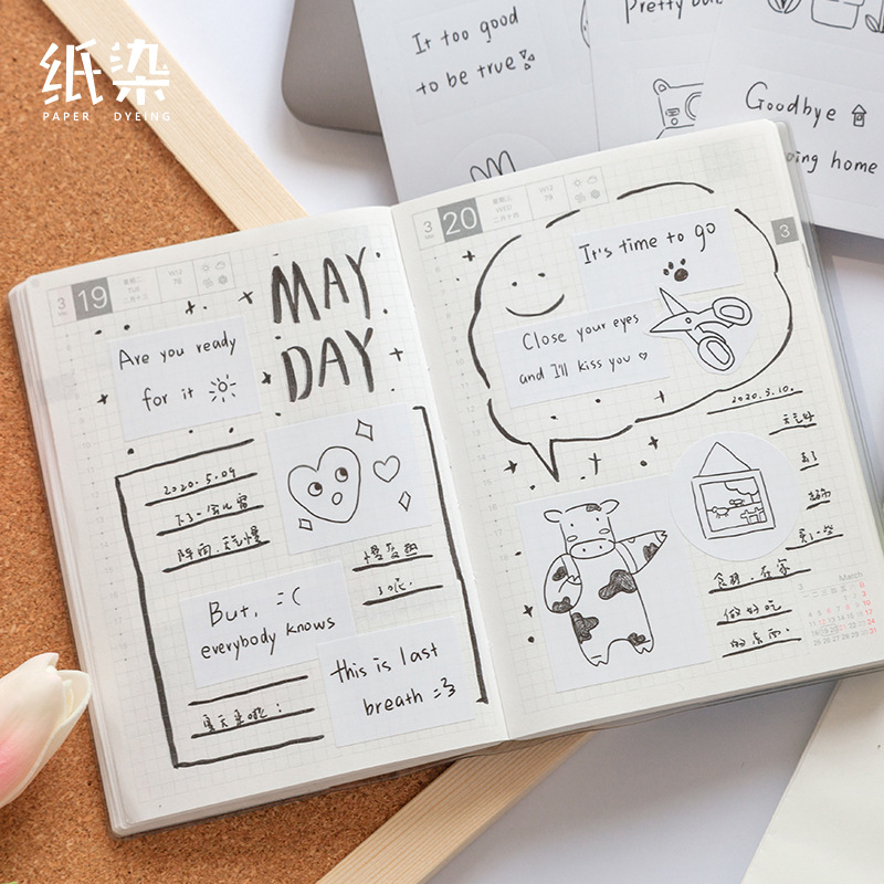 Cute Paper Hand-Drawn Stickers for Letter Writing