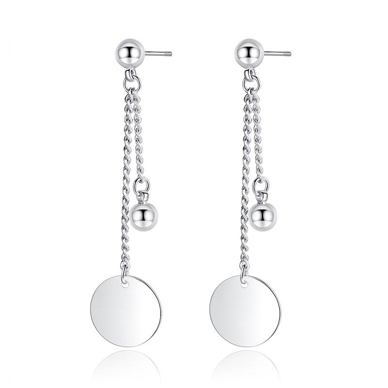 Silver Circle and Bead Chain Drop Earrings