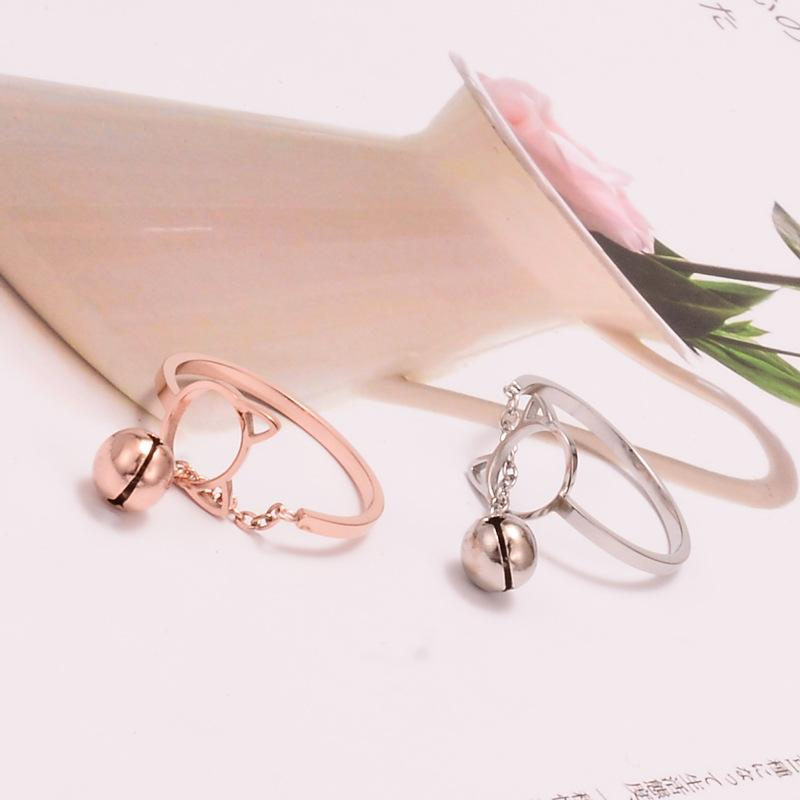 Cat Head and Bell Minimalist Ring