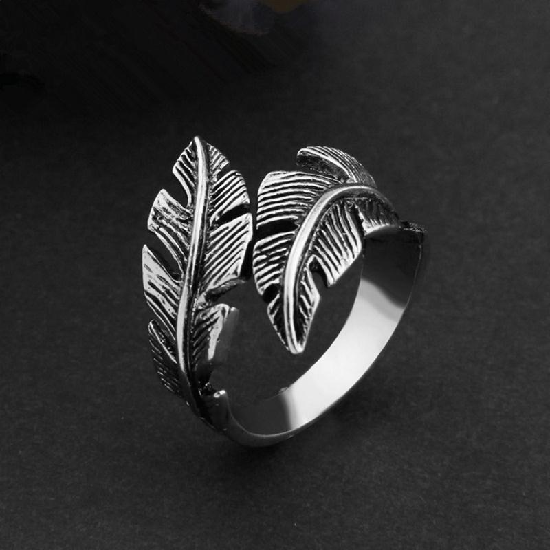 Retro Feather Open Ring