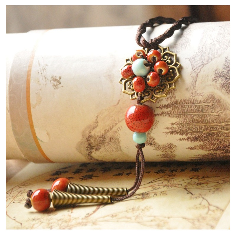 Ceramic Blue and Red Bead with Vintage Flower Lariat Necklace