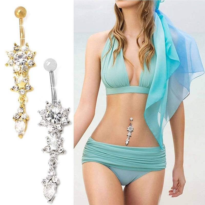 Crystal Blooms Belly Button Jewelry