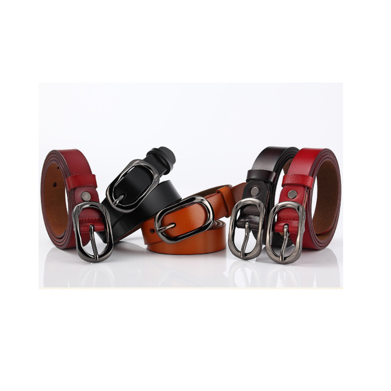 Oval Alloy Buckle Leather Belt