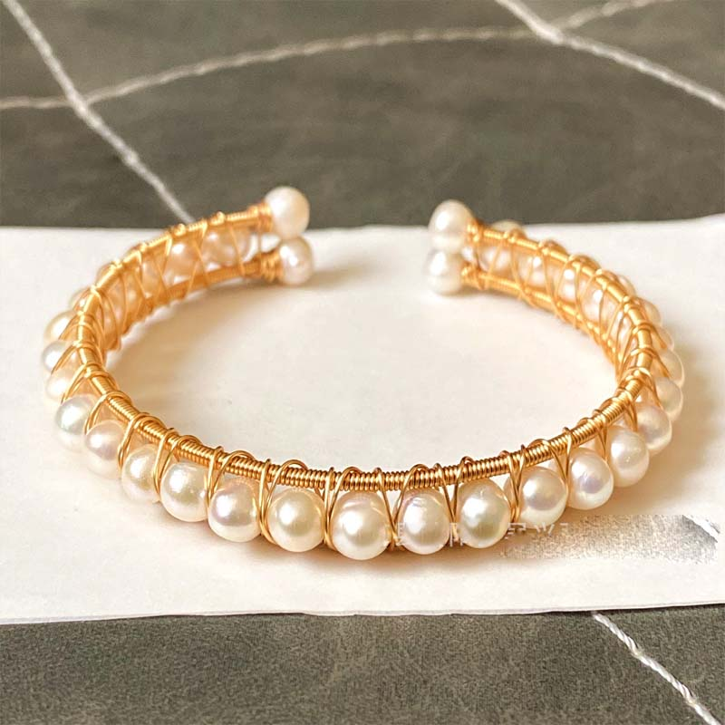 Wire Wrapped Faux Pearl Bangle