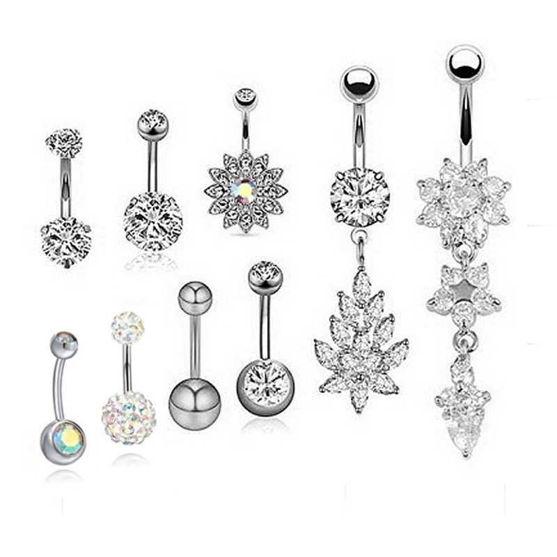 Crystals and Flowers Belly Button Jewelry Set (9 Pieces/Set)