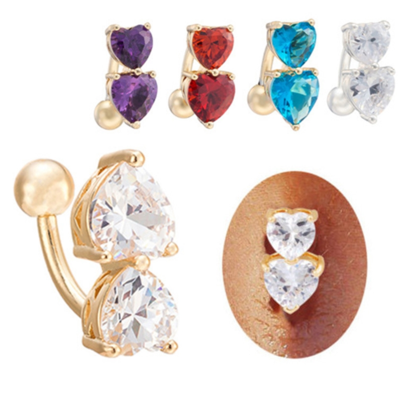 Double Heart Crystal Navel Ring