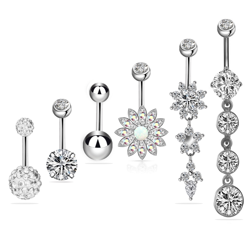 Flower and Crystal Belly Button Jewelry Set (6 Pieces/Set)