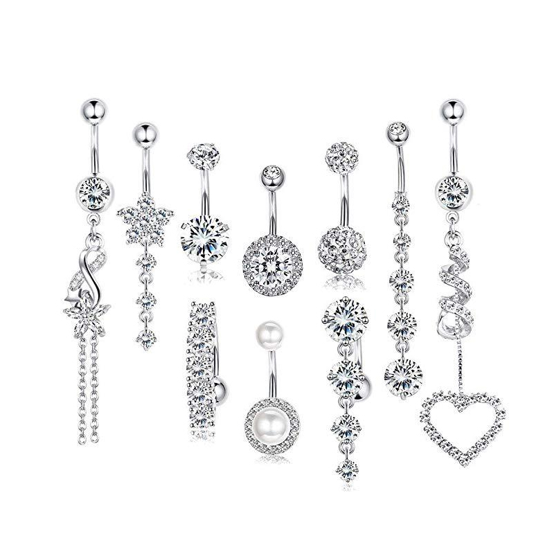 Amaia Crystal Belly Button Jewelry Set (10 Pieces/Set)