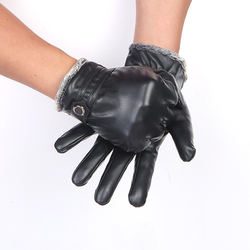 Classic Waterproof Black Leather Gloves