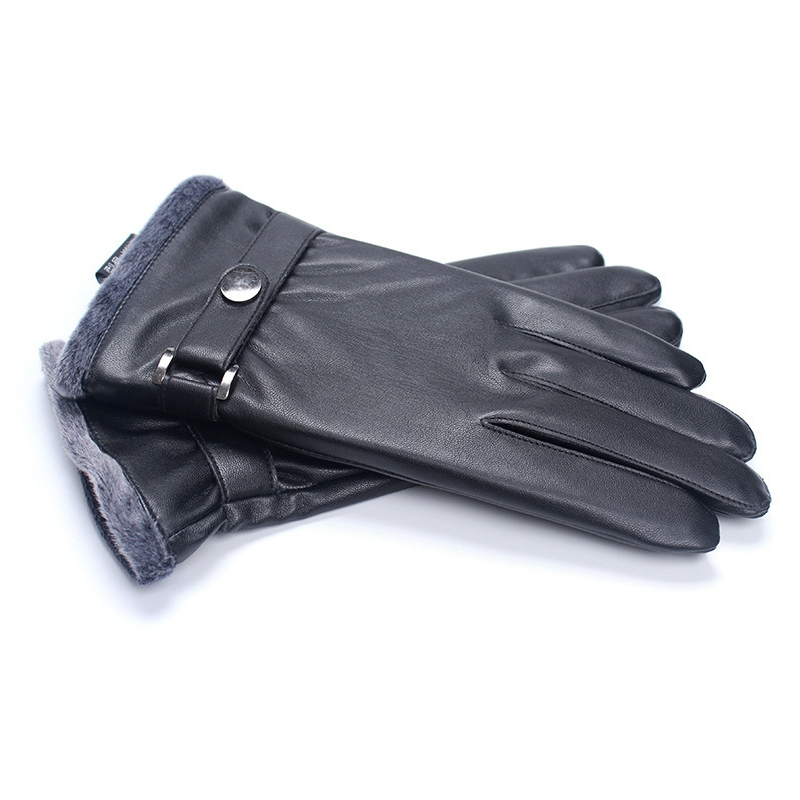 Warm and Thick Black Leather Gloves