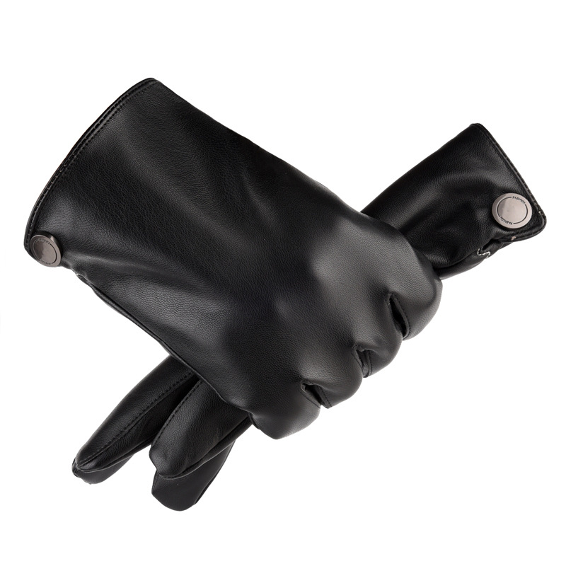 Black Faux Leather Winter Gloves