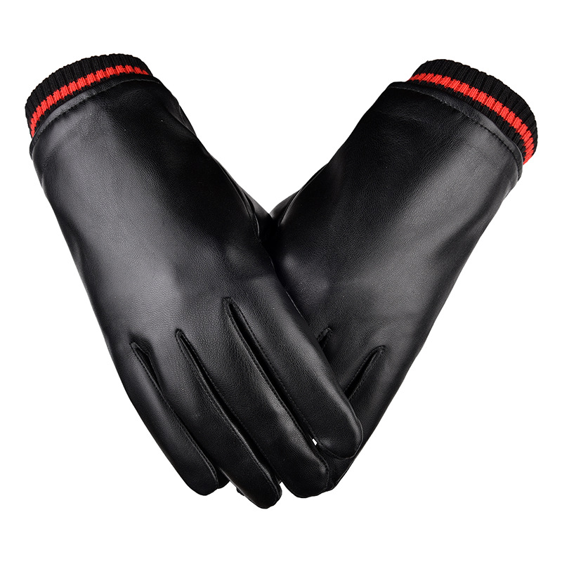 Black and Red Warm Faux Leather Gloves
