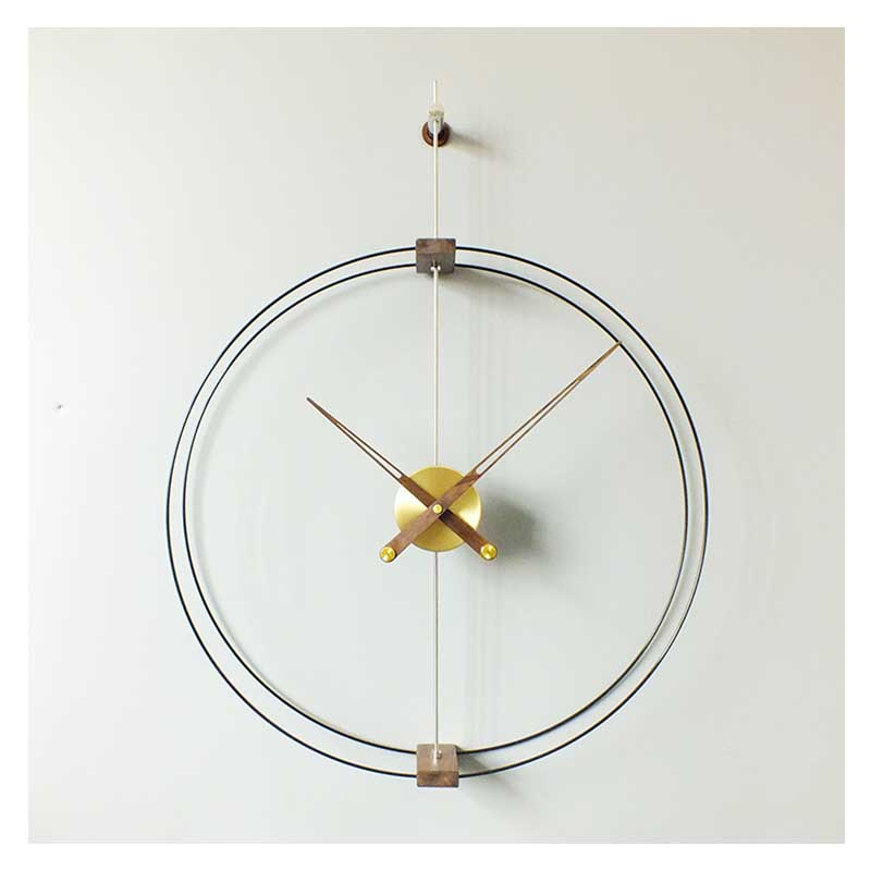 Copper and Solid Wood Wall Clock Outline