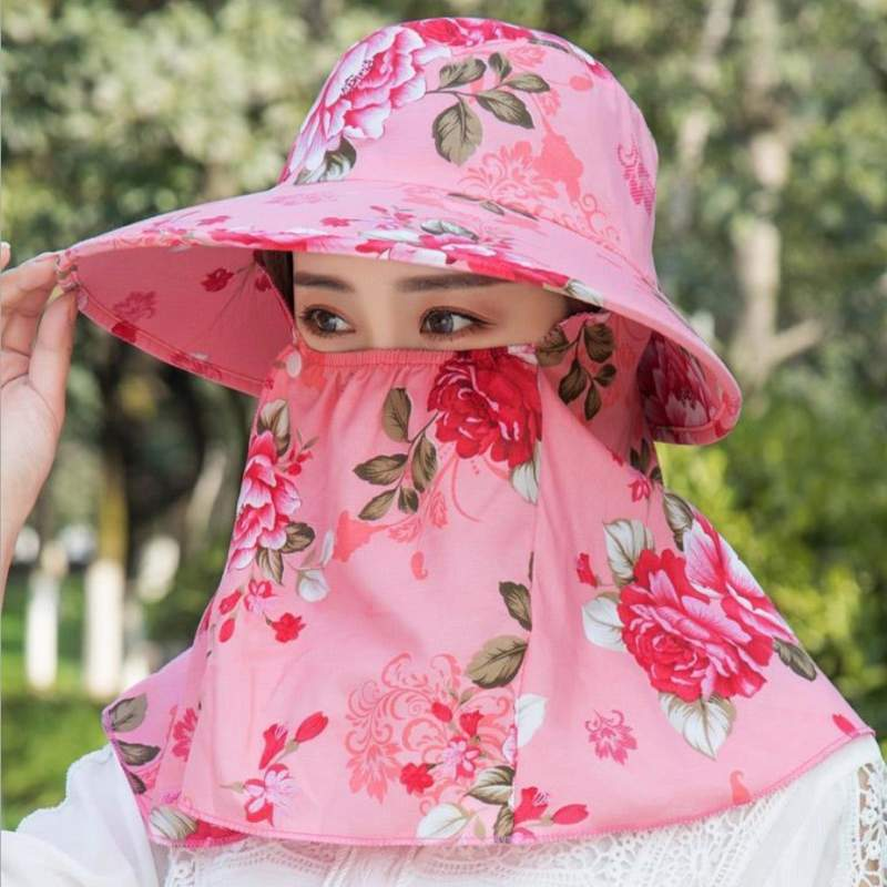 Floral Sun Hats with Face Cover
