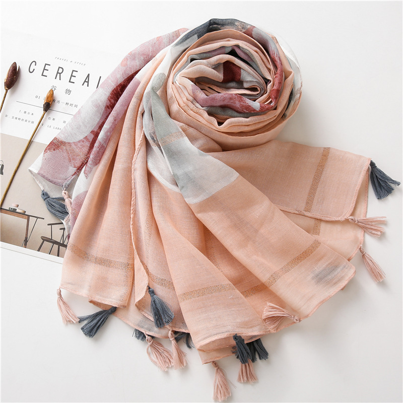Abstract Flower Print Scarf for Warmth