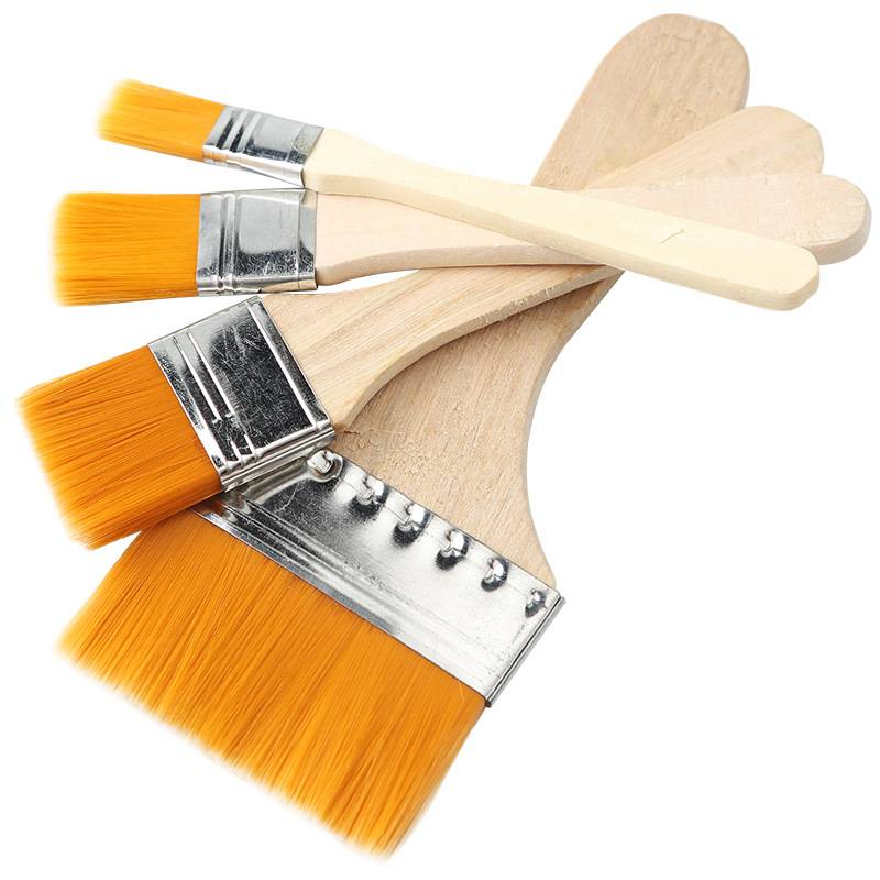 Wooden Paint Brush with Yellow Bristles