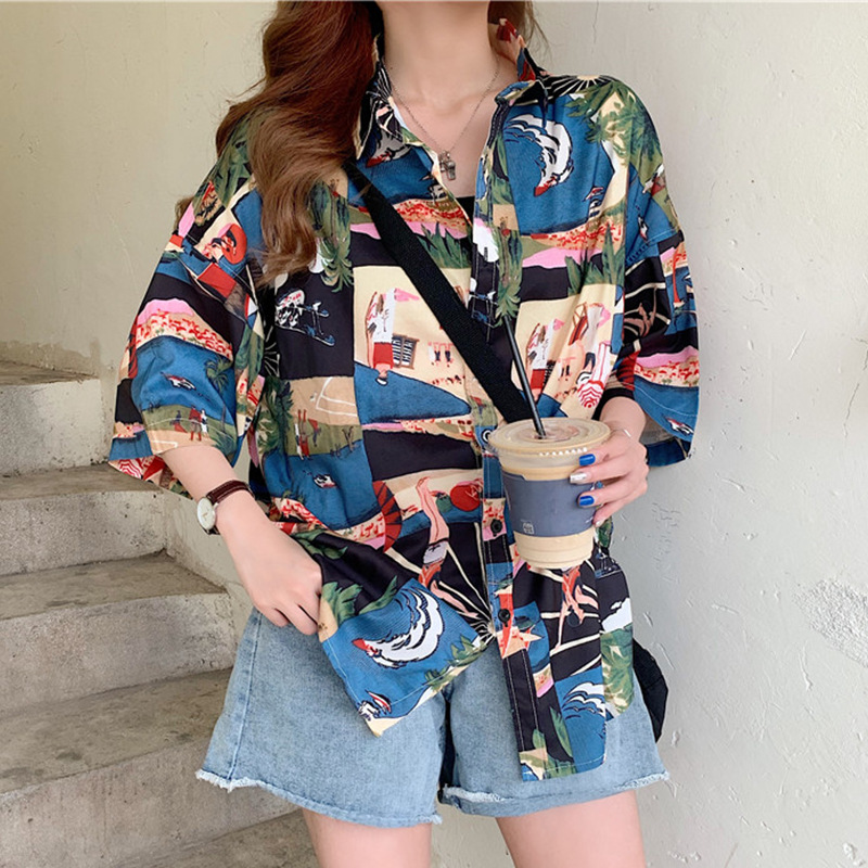 Loose-Fitting Printed Button-Up for Hippie Looks