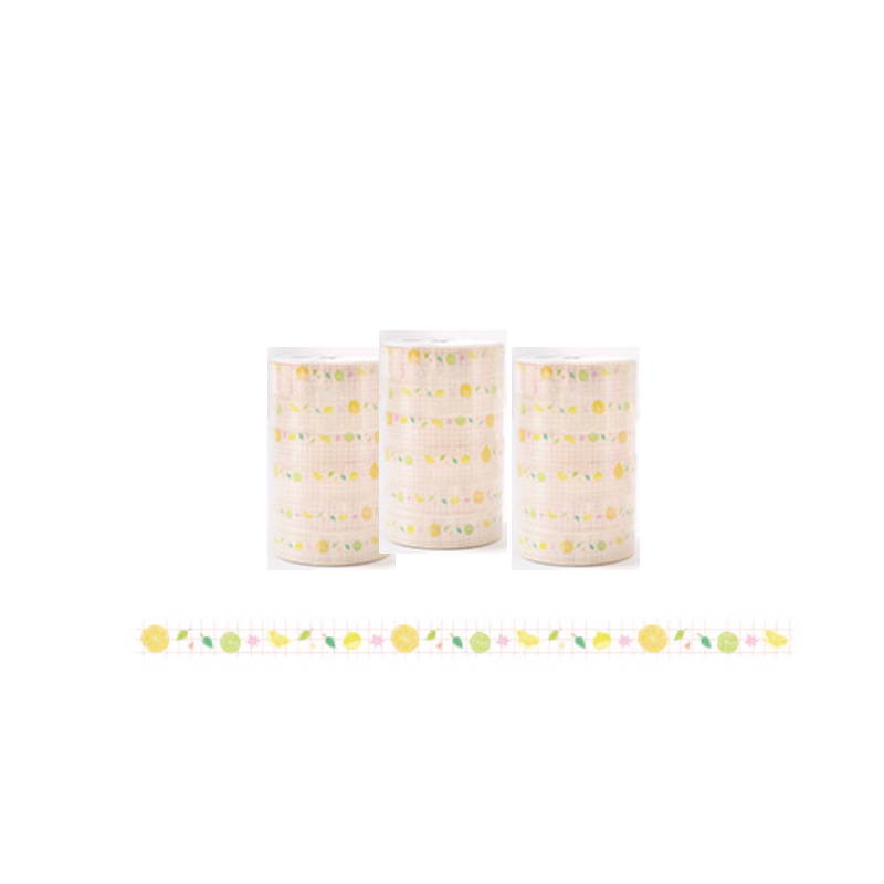 Yellow and Green Prints Decorative Tape (6 Rolls/Set)