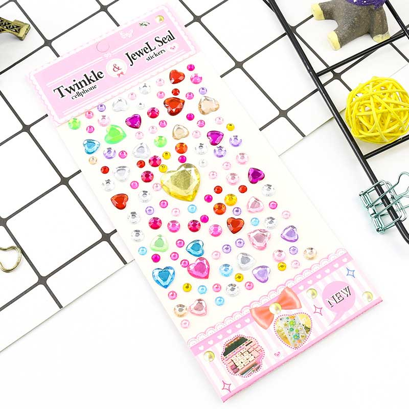 Colored Acrylic Rhinestones Sticker Sheet
