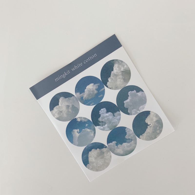 Waterproof Cloud Circle Stickers