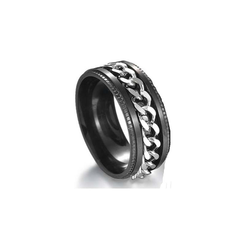 Rotatable Cuban Chain Stainless Steel Ring