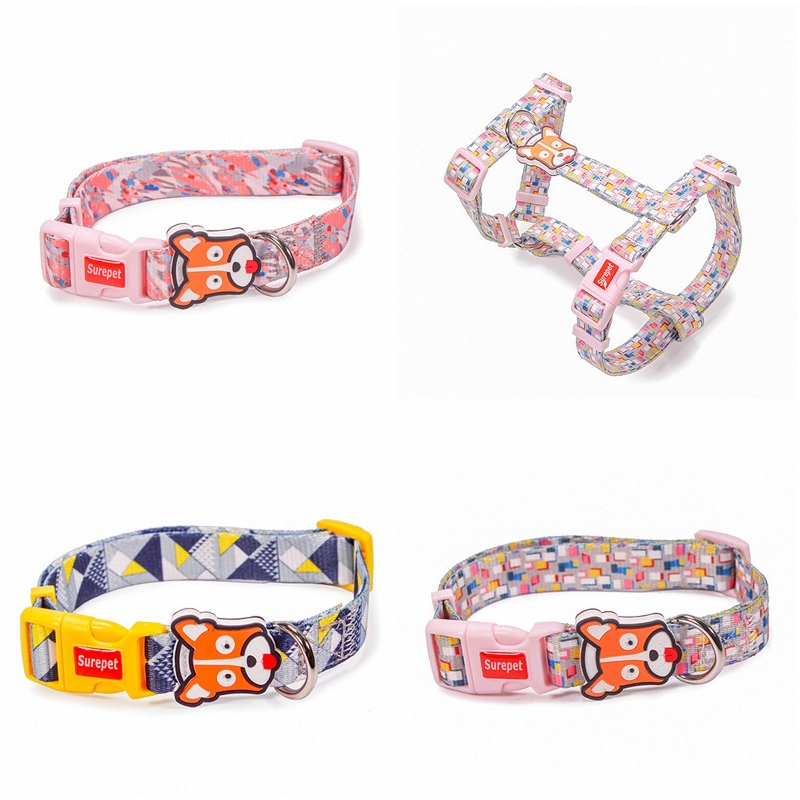 Colorful Pet's Collar and Chest Harness Collection for Walking in the Park