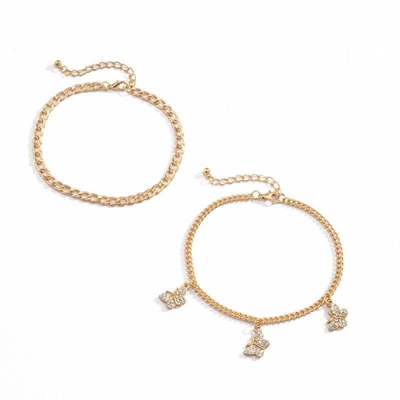 Callix Crystal Butterfly and Chain Anklets