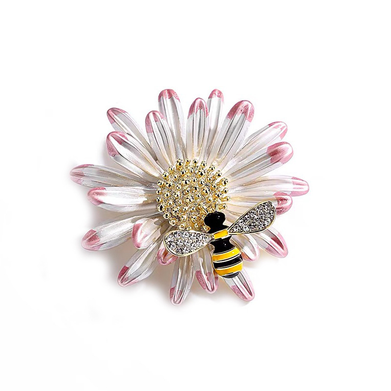 Pollinating Bee on Flower Pin