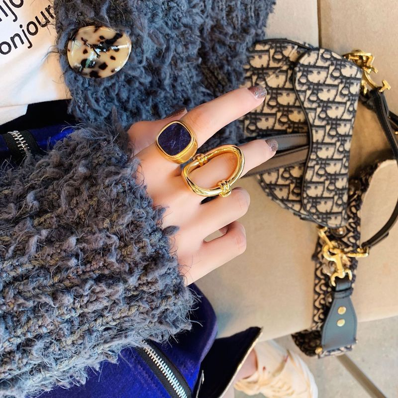Baryon Blue and Gold Statement Rings