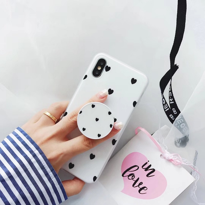 Black and White Hearts Mobile Case for iPhone