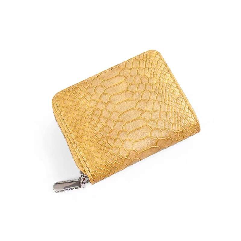 Faux Golden Alligator Skin Square Wallet