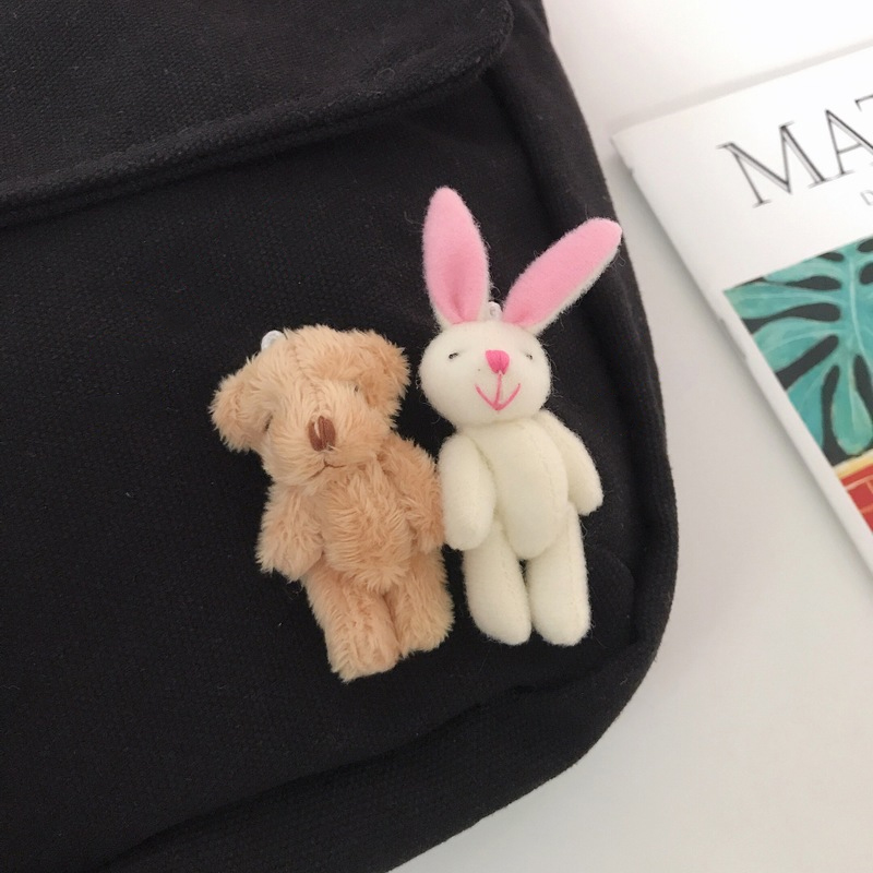 Plush Rabbit and Bear Brooch