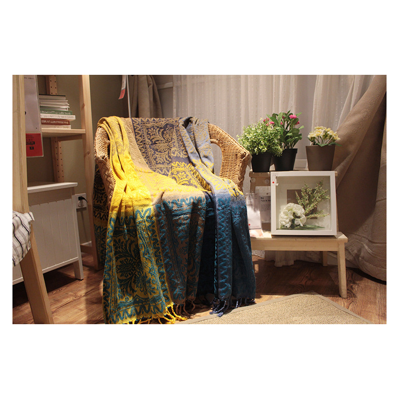 Floral Pattern Yellow and Blue Blanket