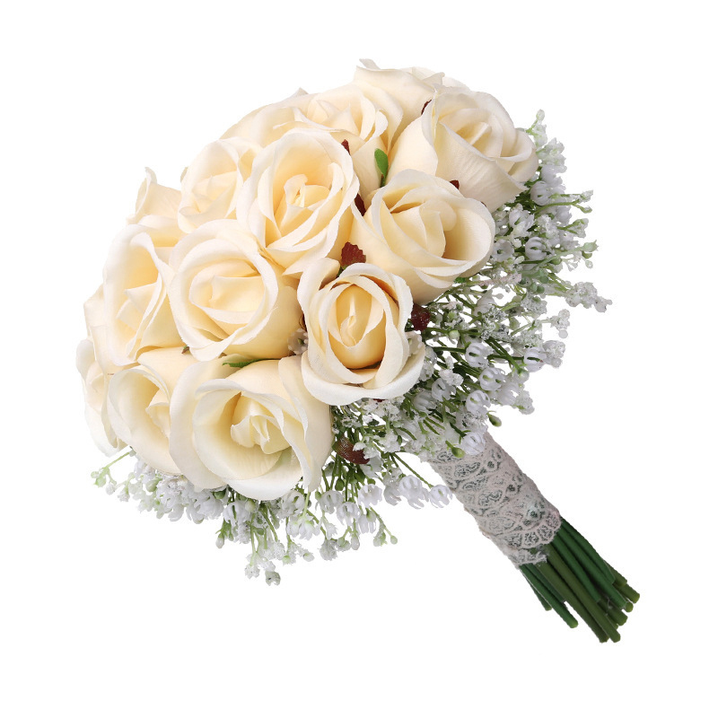 Georgie Faux Cream Rose and Baby's Breath Bouquet