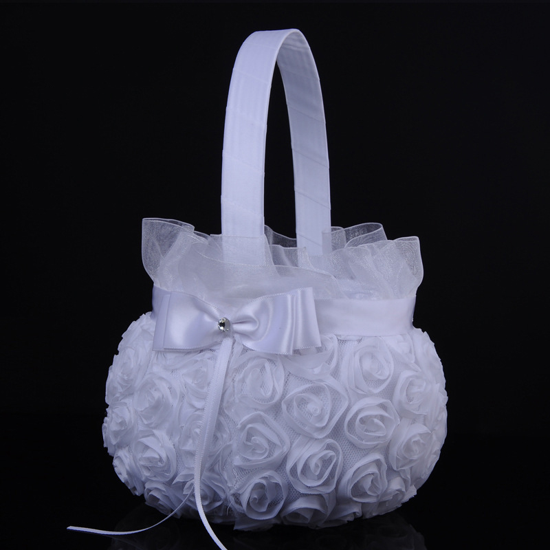 Rica White Rose and Ribbon Flower Basket