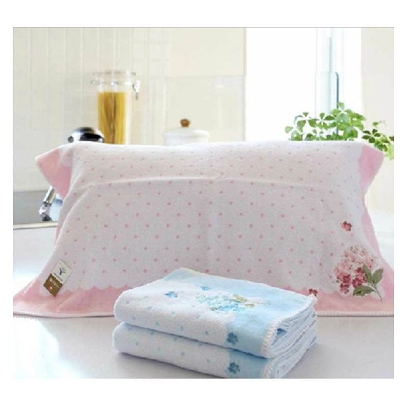 Embroidered Flower on Side Pillow Towel