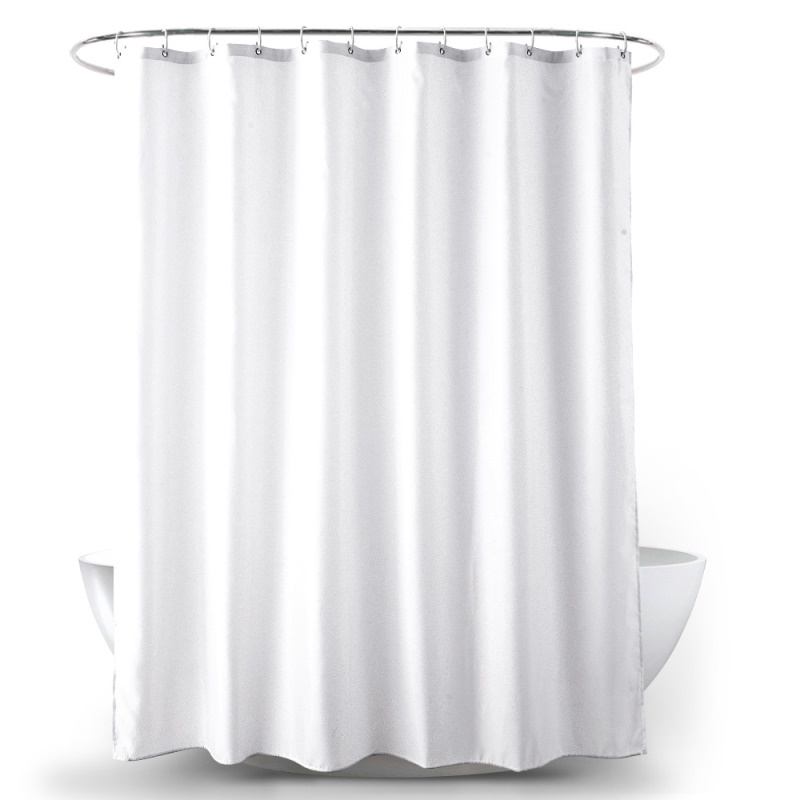 Plain White Polyester Fabric Shower Curtain