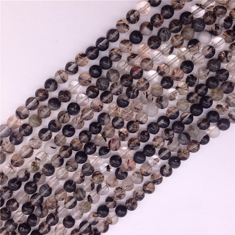 Black and White Round Loose Beads