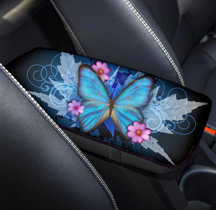 Blue Butterfly and Pink Flowers Diving Fabric Armrest Pad for Floral Cars