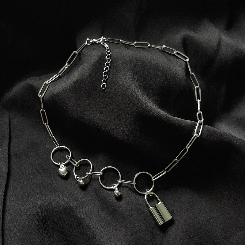 Lock and Round Beads Chain Necklace