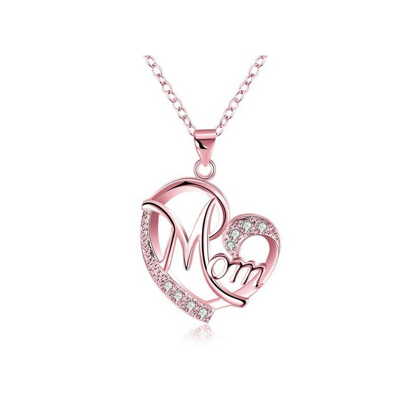 Love Mom Crystal Chain Necklace