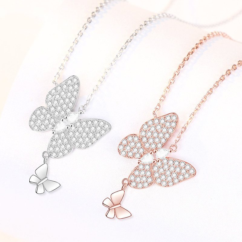 Mom and Daughter Butterfly Pair Necklace
