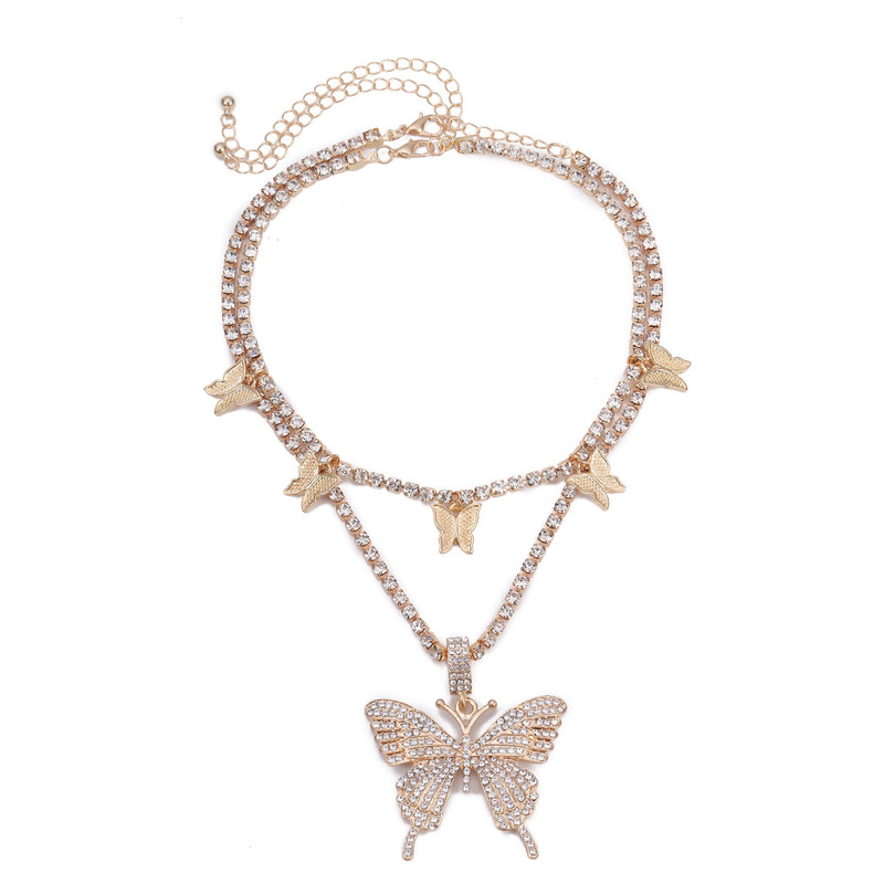 Fancy Butterfly Flutter Two-Layer Bedazzled Necklace