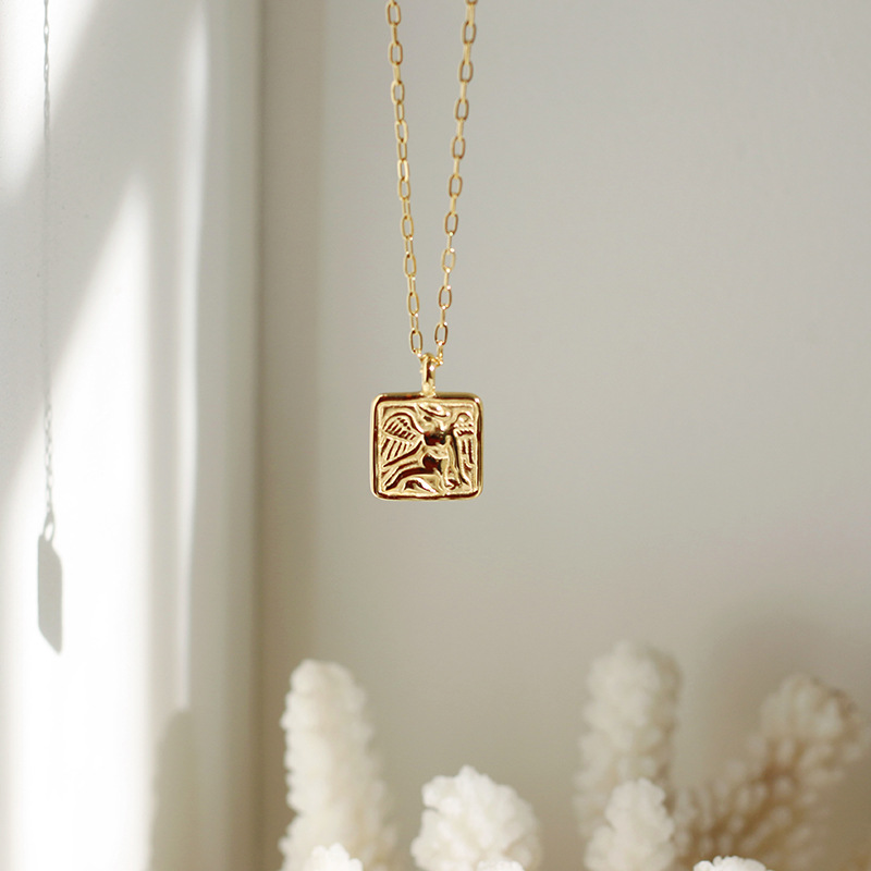 Cupid in Square Pendant Chain Necklace