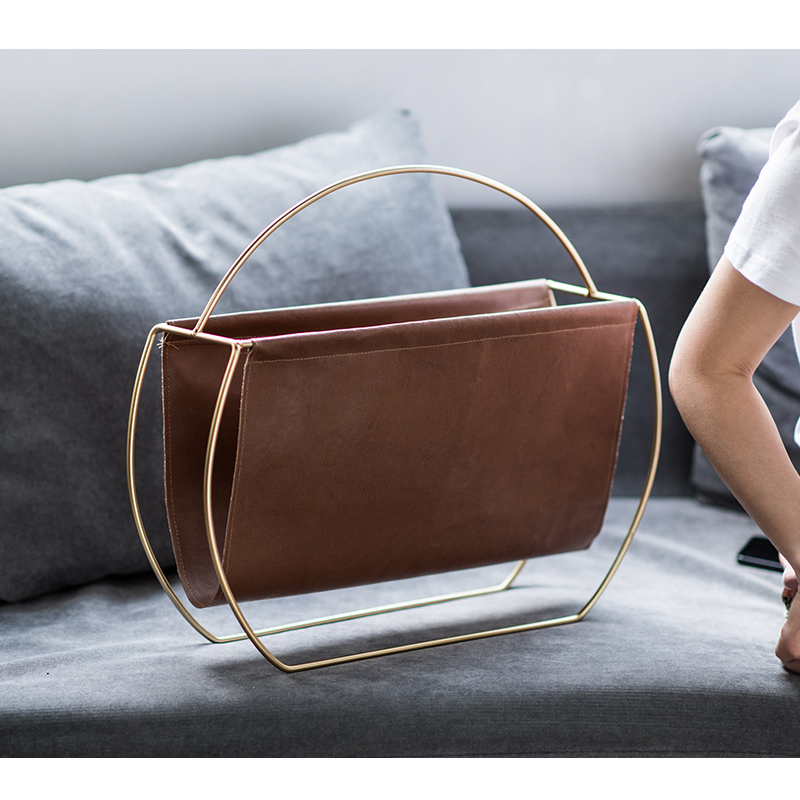 Faux Leather and Gold Magazine Holder